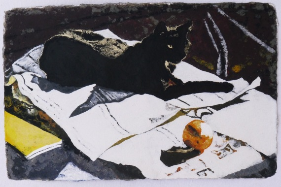 Blacky with the Morning Paper 46 x 71 cm, in China now