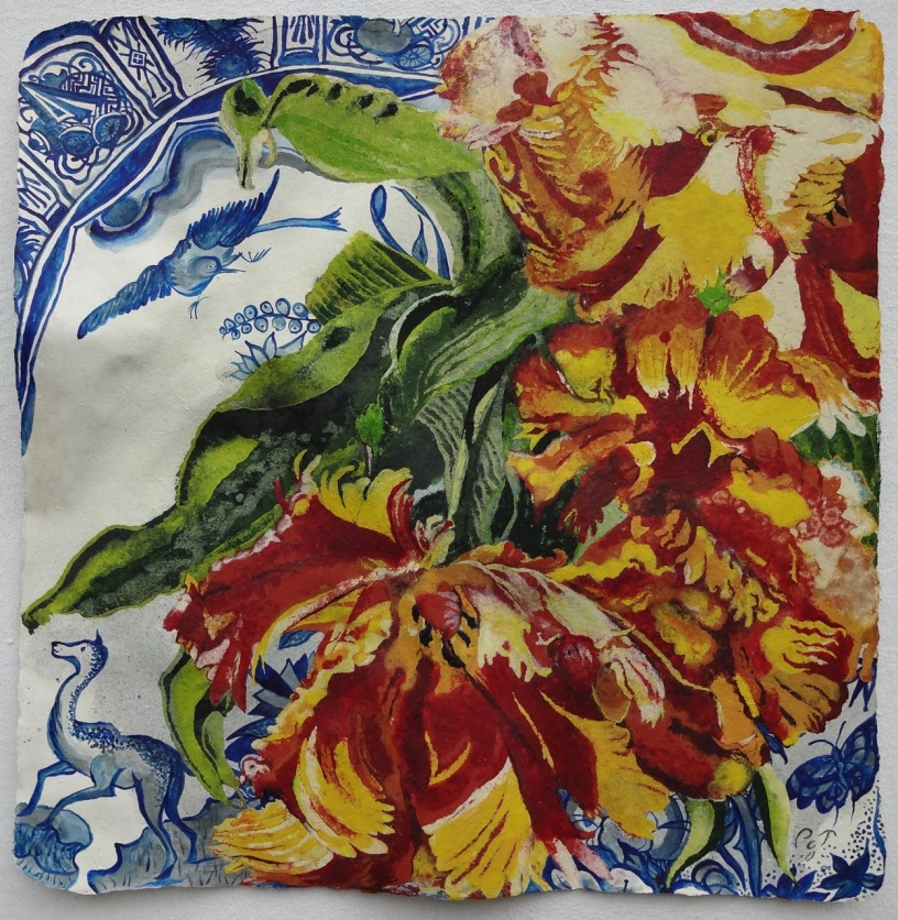 Escape From Ming Dynasty 69 x 68 cm, using paint also